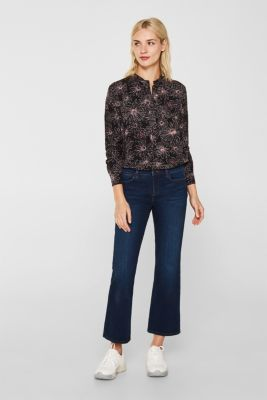 Slip-on blouse with a print and band collar, BLACK 3, detail
