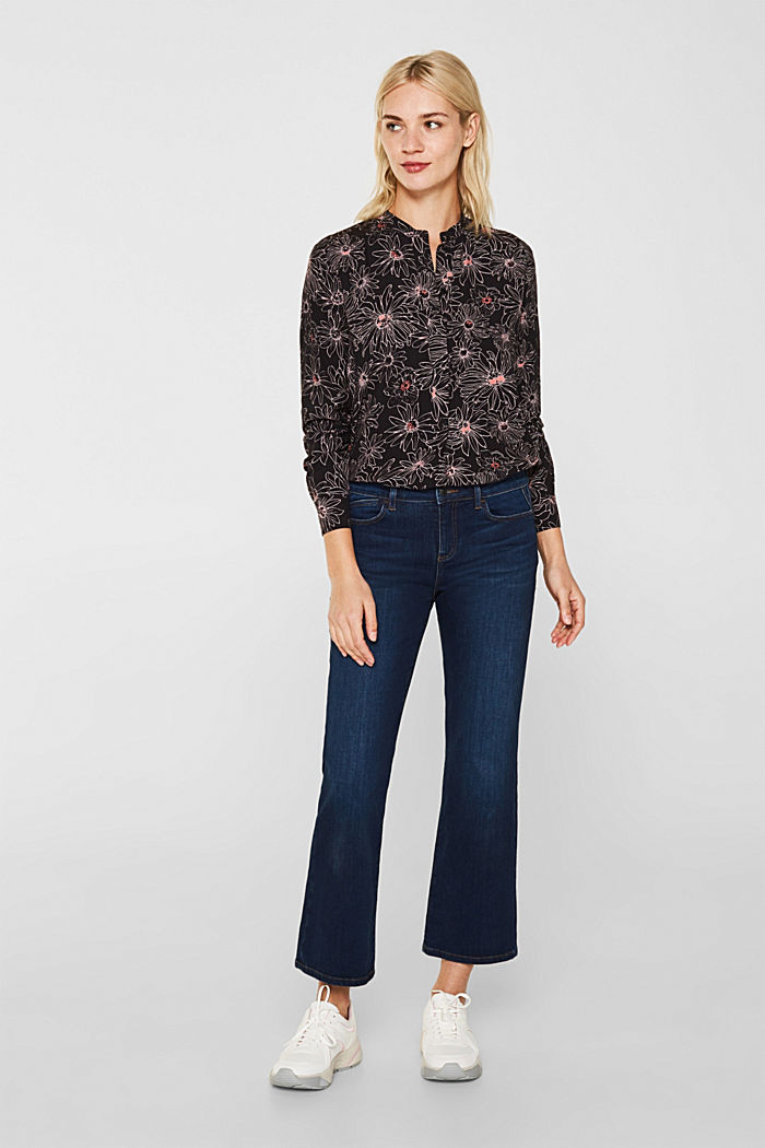 Slip-on blouse with a print and band collar, BLACK, detail image number 1