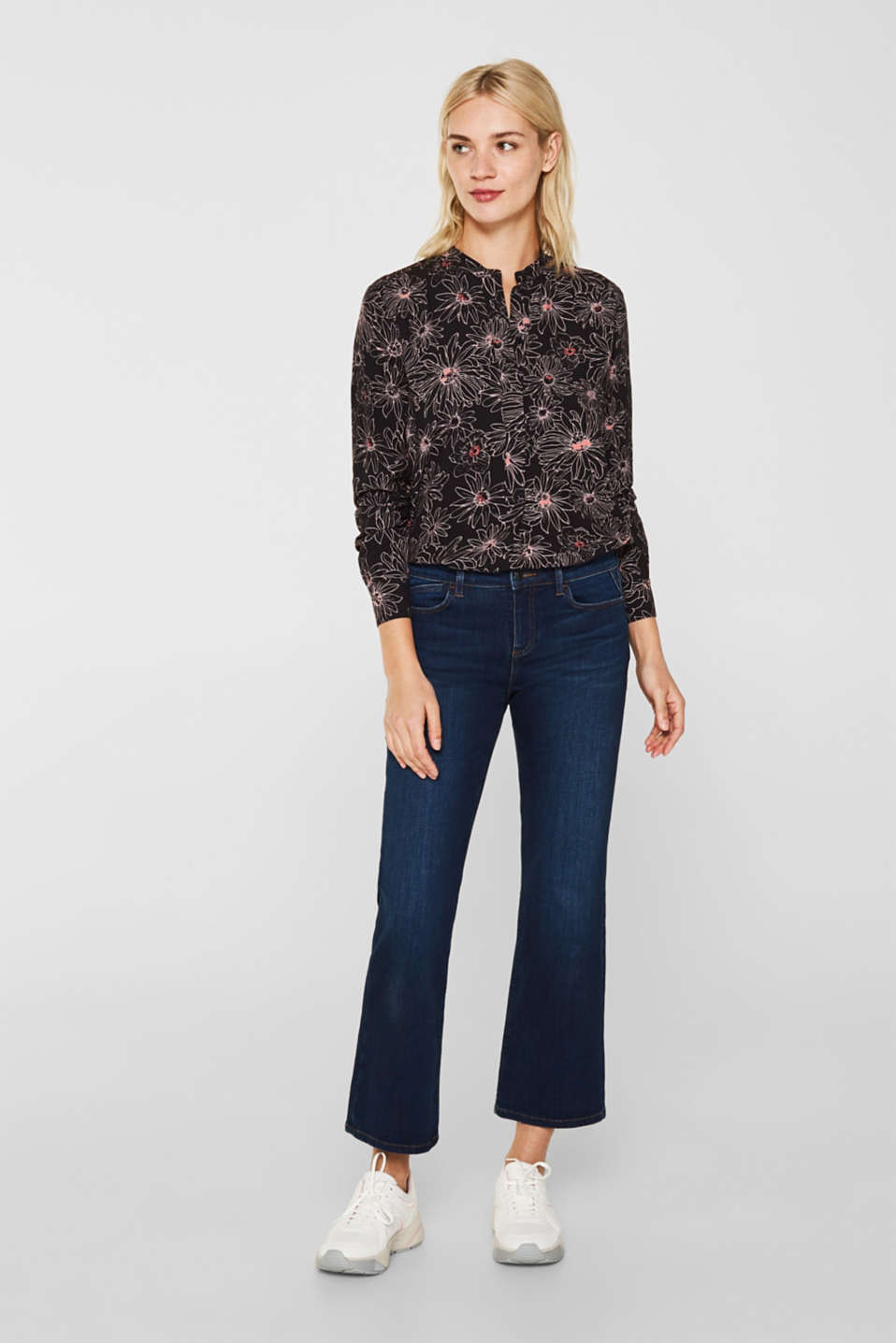 Slip-on blouse with a print and band collar, BLACK 3, detail image number 1