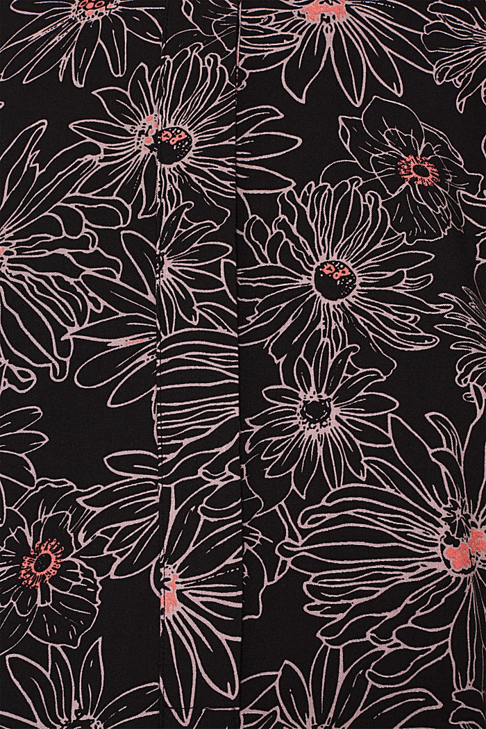 Slip-on blouse with a print and band collar, BLACK, detail image number 4
