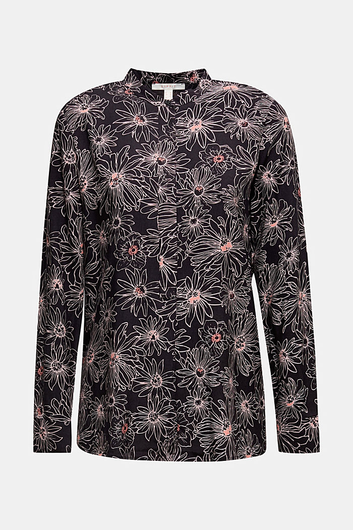 Slip-on blouse with a print and band collar, BLACK, detail image number 6