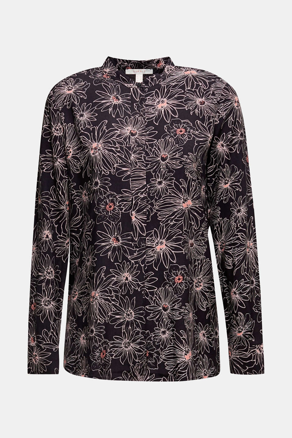 Slip-on blouse with a print and band collar, BLACK 3, detail image number 6