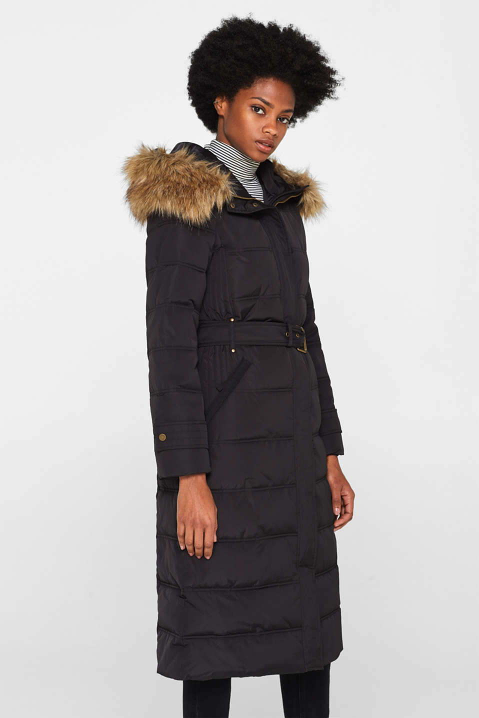 Quilted coat with a faux fur hood, BLACK, detail image number 0