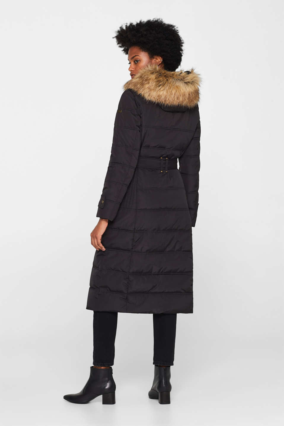 Quilted coat with a faux fur hood, BLACK, detail image number 3