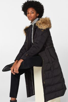 Quilted coat with a faux fur hood, BLACK, detail