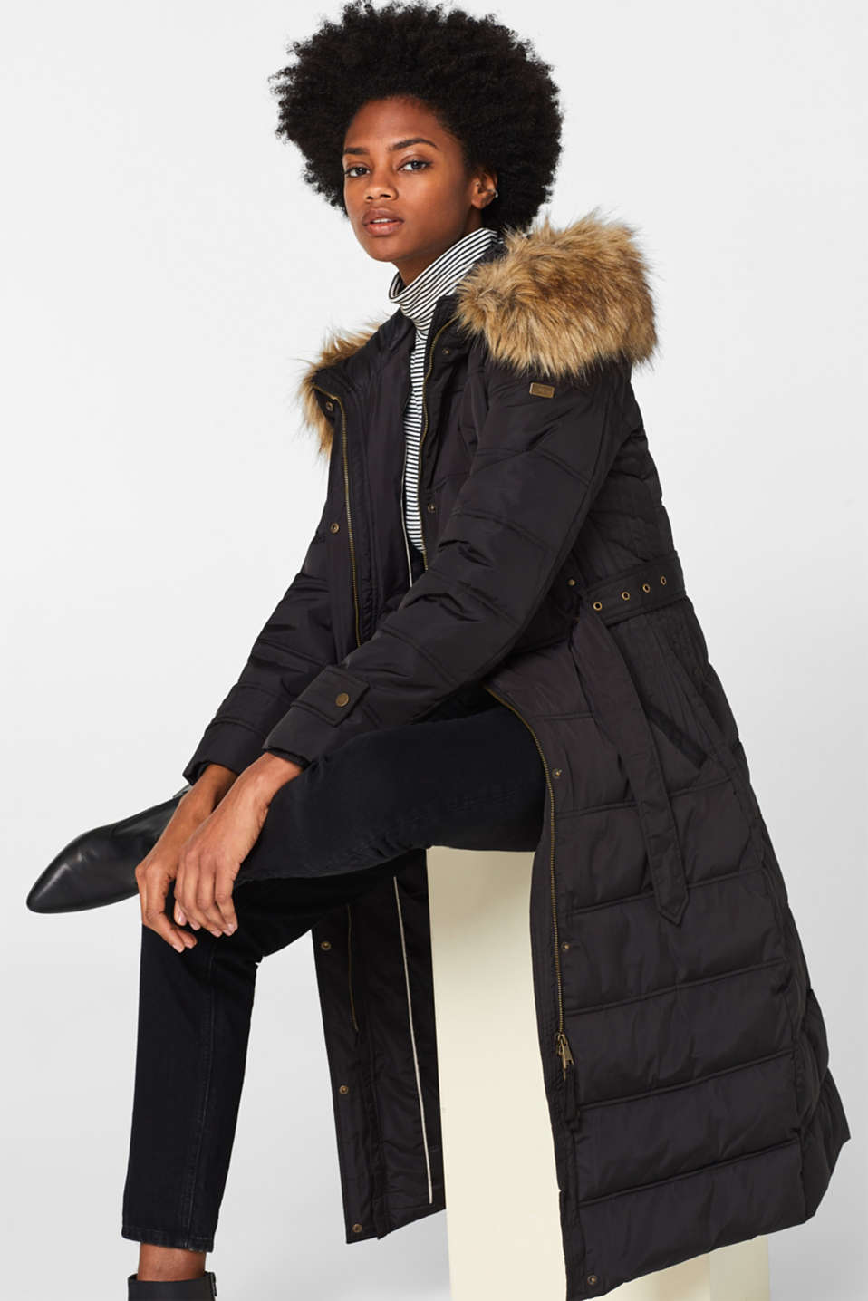 Quilted coat with a faux fur hood, BLACK, detail image number 1