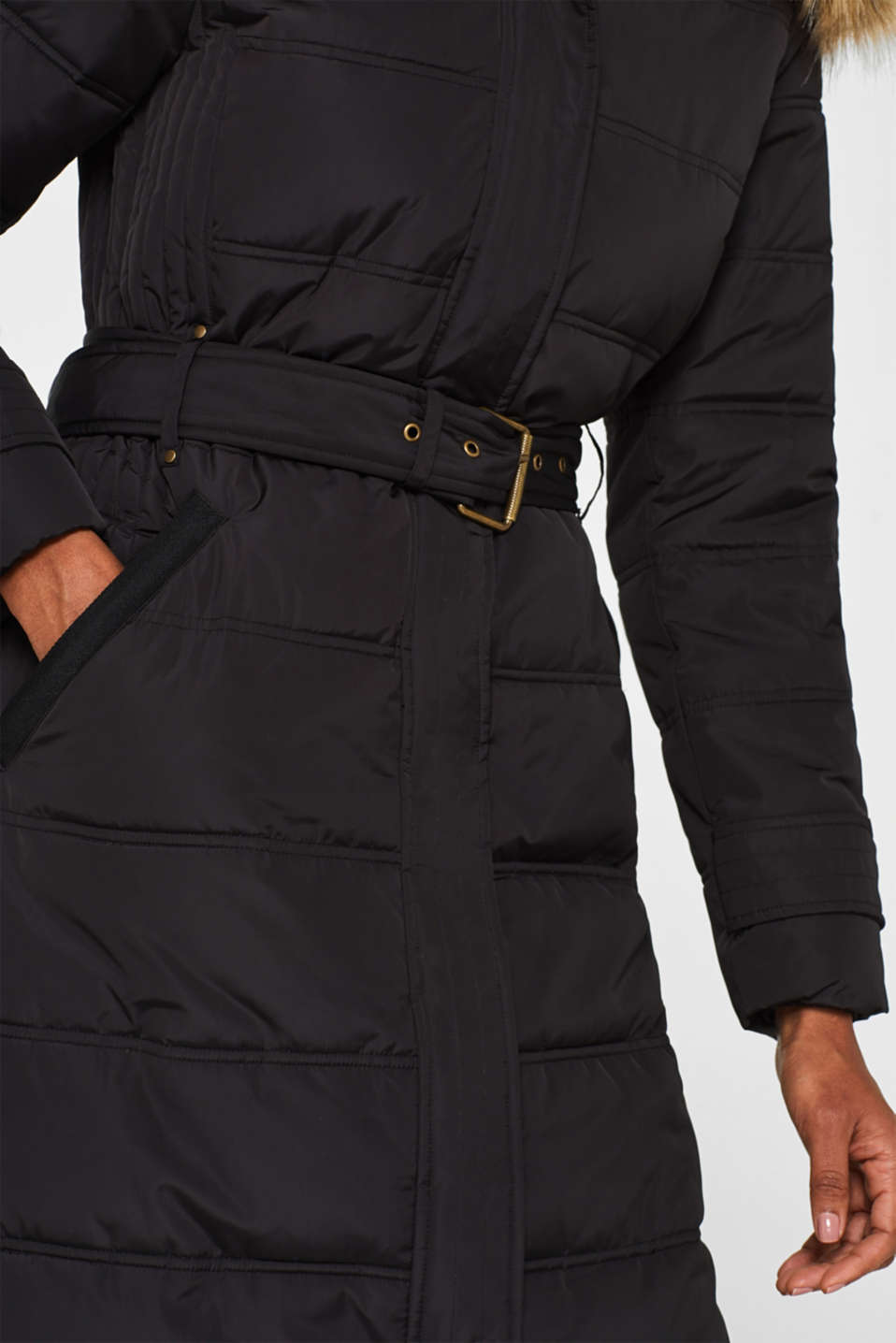 Quilted coat with a faux fur hood, BLACK, detail image number 2
