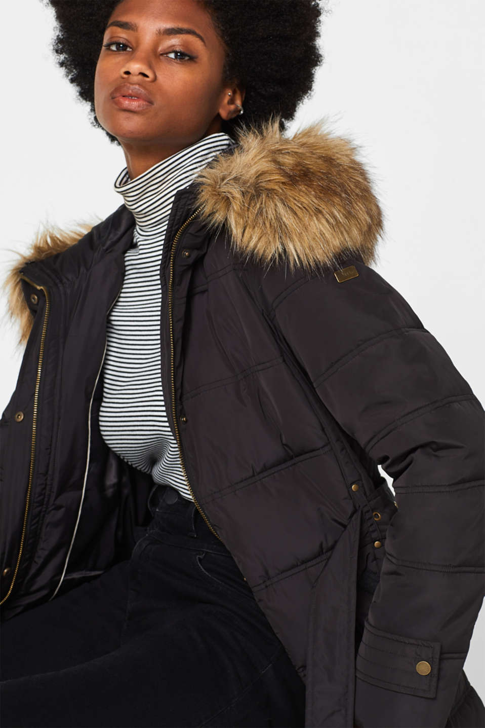 Quilted coat with a faux fur hood, BLACK, detail image number 5