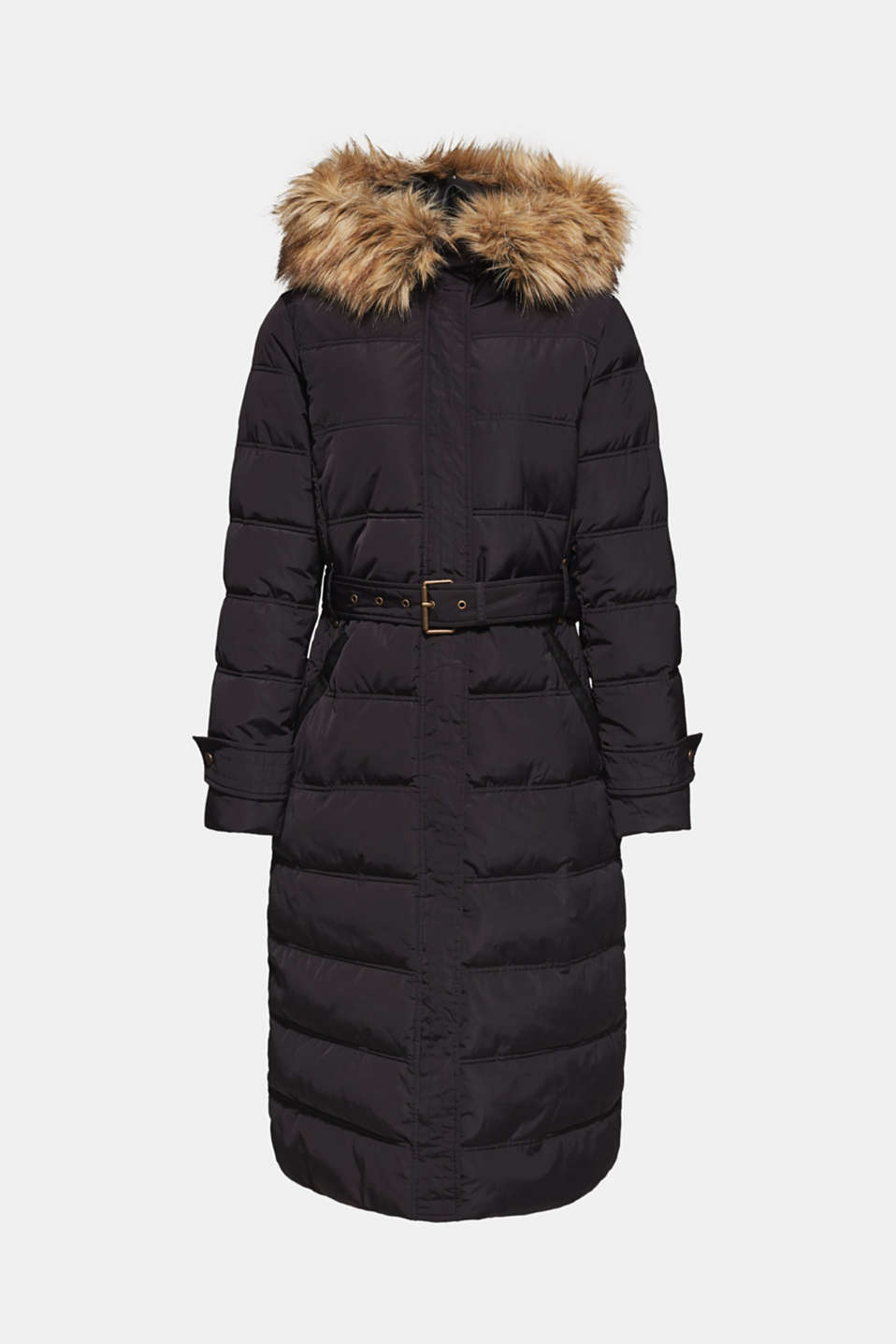 Quilted coat with a faux fur hood, BLACK, detail image number 6