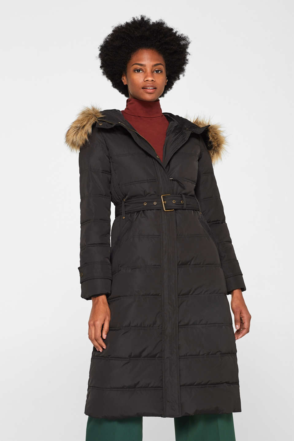Quilted coat with a faux fur hood, DARK TEAL GREEN, detail image number 0