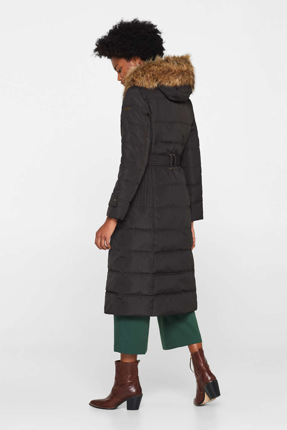 Quilted coat with a faux fur hood, DARK TEAL GREEN, detail image number 3