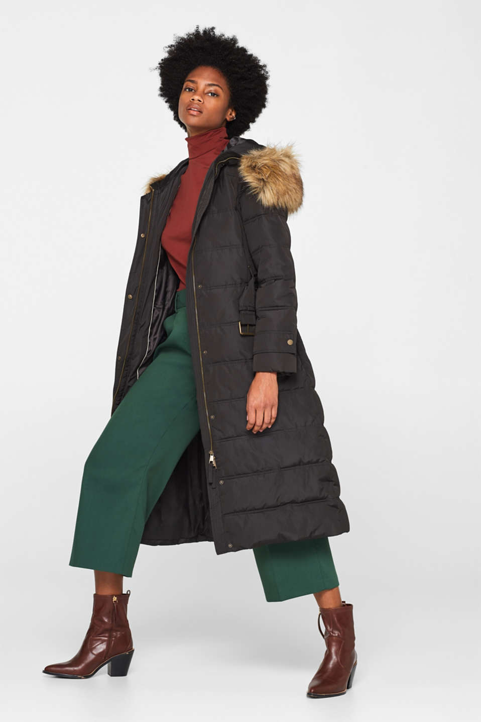 Quilted coat with a faux fur hood, DARK TEAL GREEN, detail image number 1