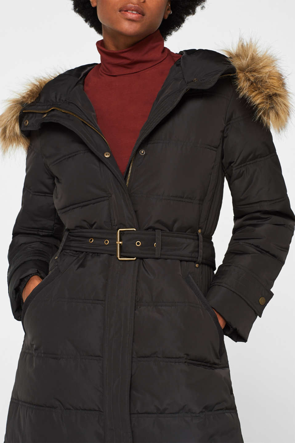 Quilted coat with a faux fur hood, DARK TEAL GREEN, detail image number 2