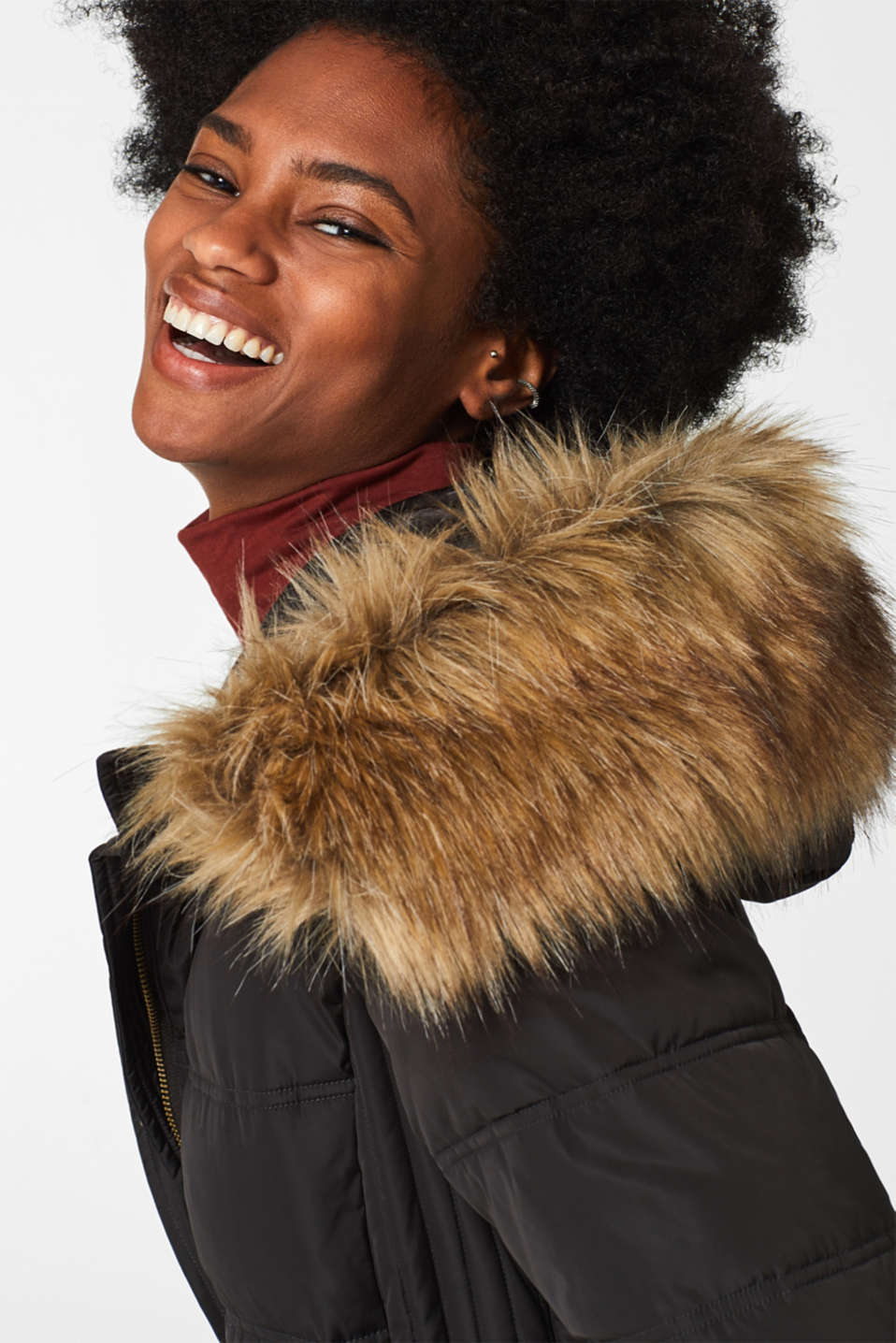 Quilted coat with a faux fur hood, DARK TEAL GREEN, detail image number 6