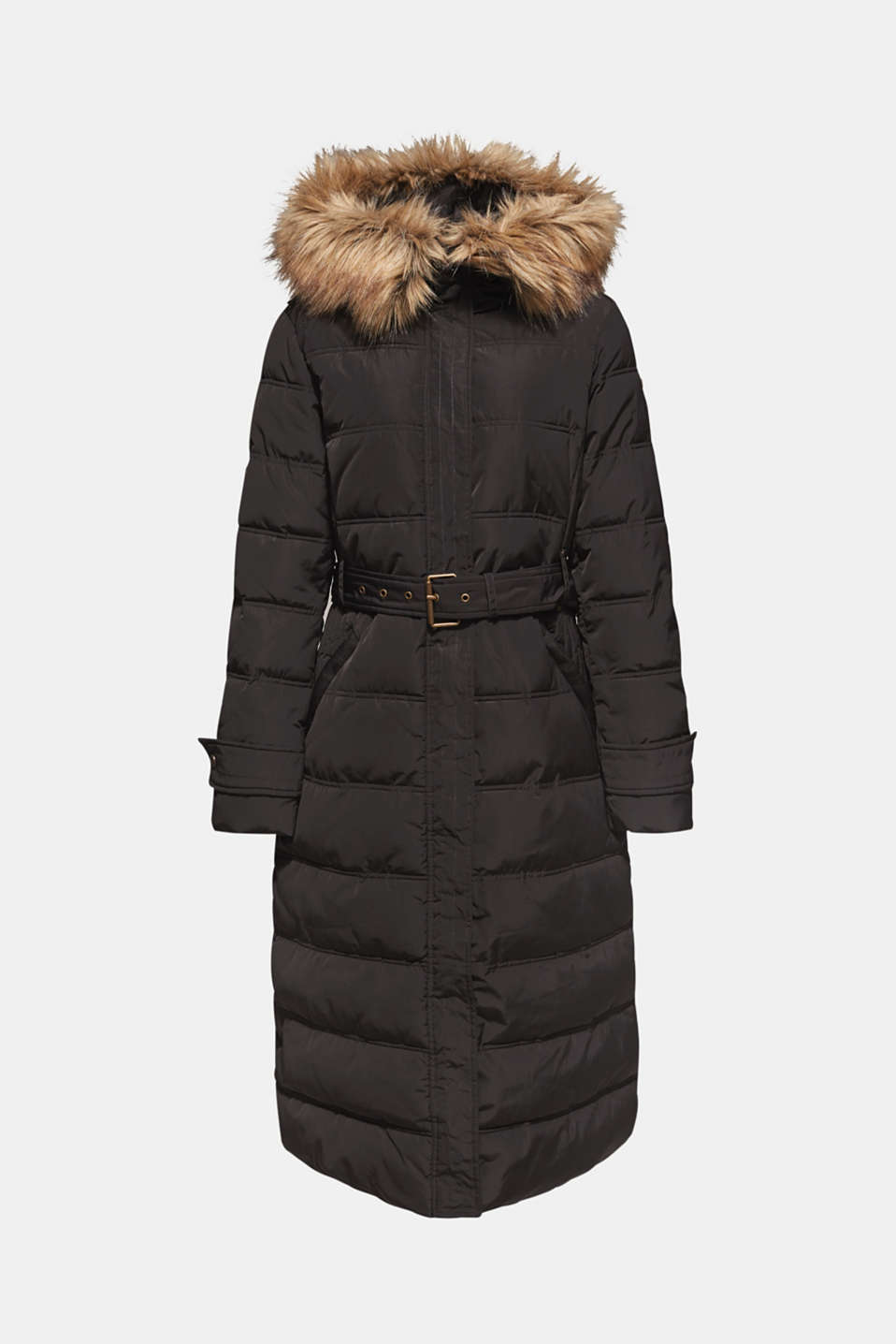 Quilted coat with a faux fur hood, DARK TEAL GREEN, detail image number 7