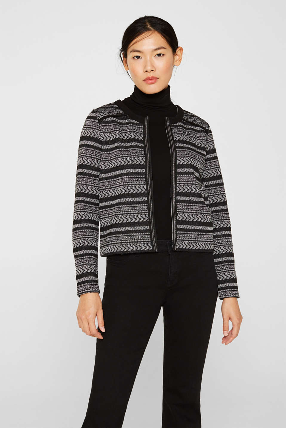 Esprit - Jersey jacket with a jacquard pattern