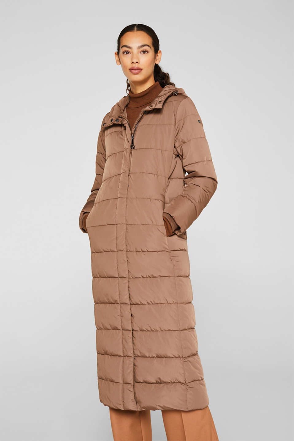 Quilted coat with hood, BROWN, detail image number 0