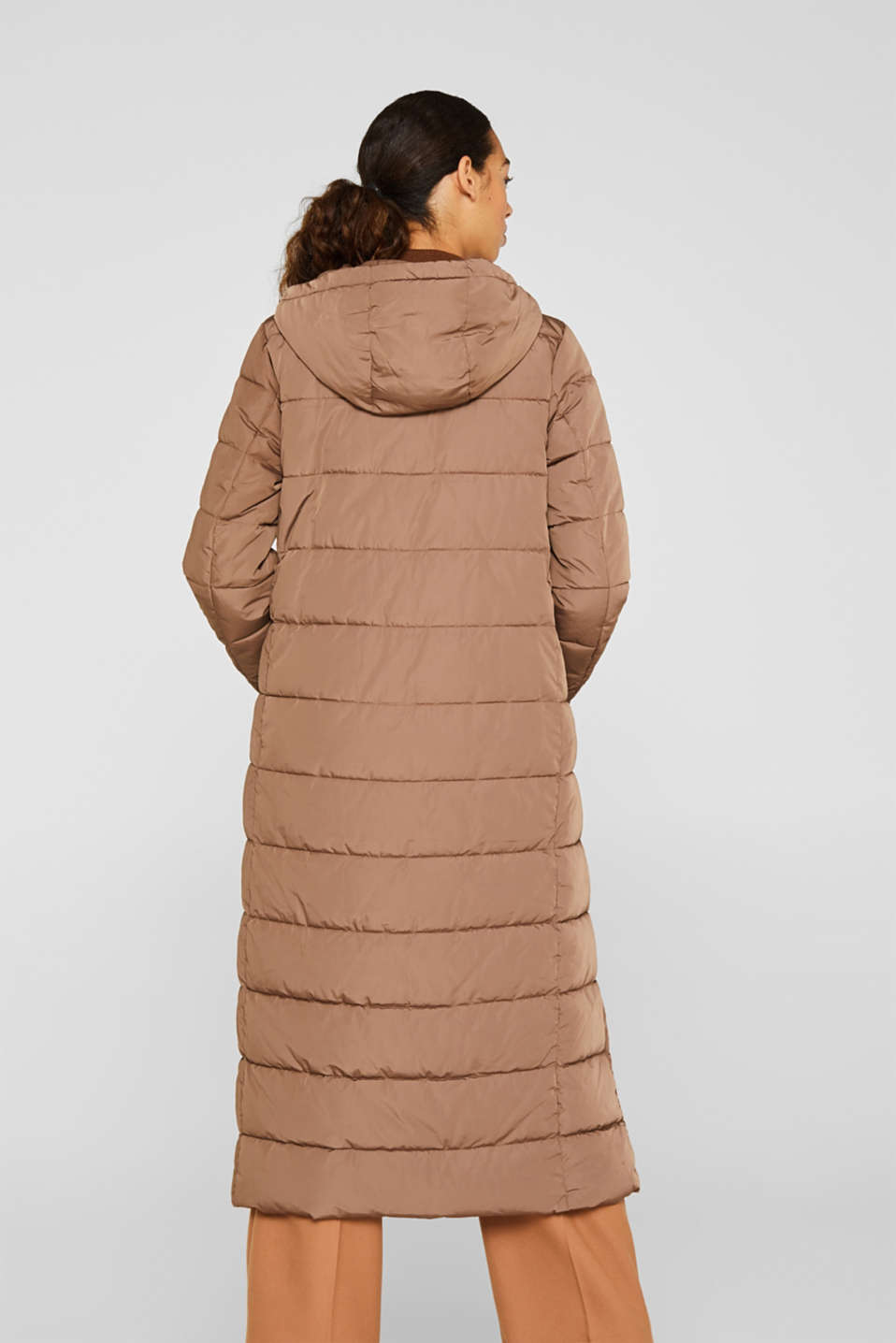 Quilted coat with hood, BROWN, detail image number 3