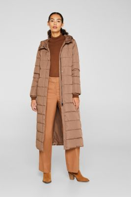 Quilted coat with hood, BROWN, detail