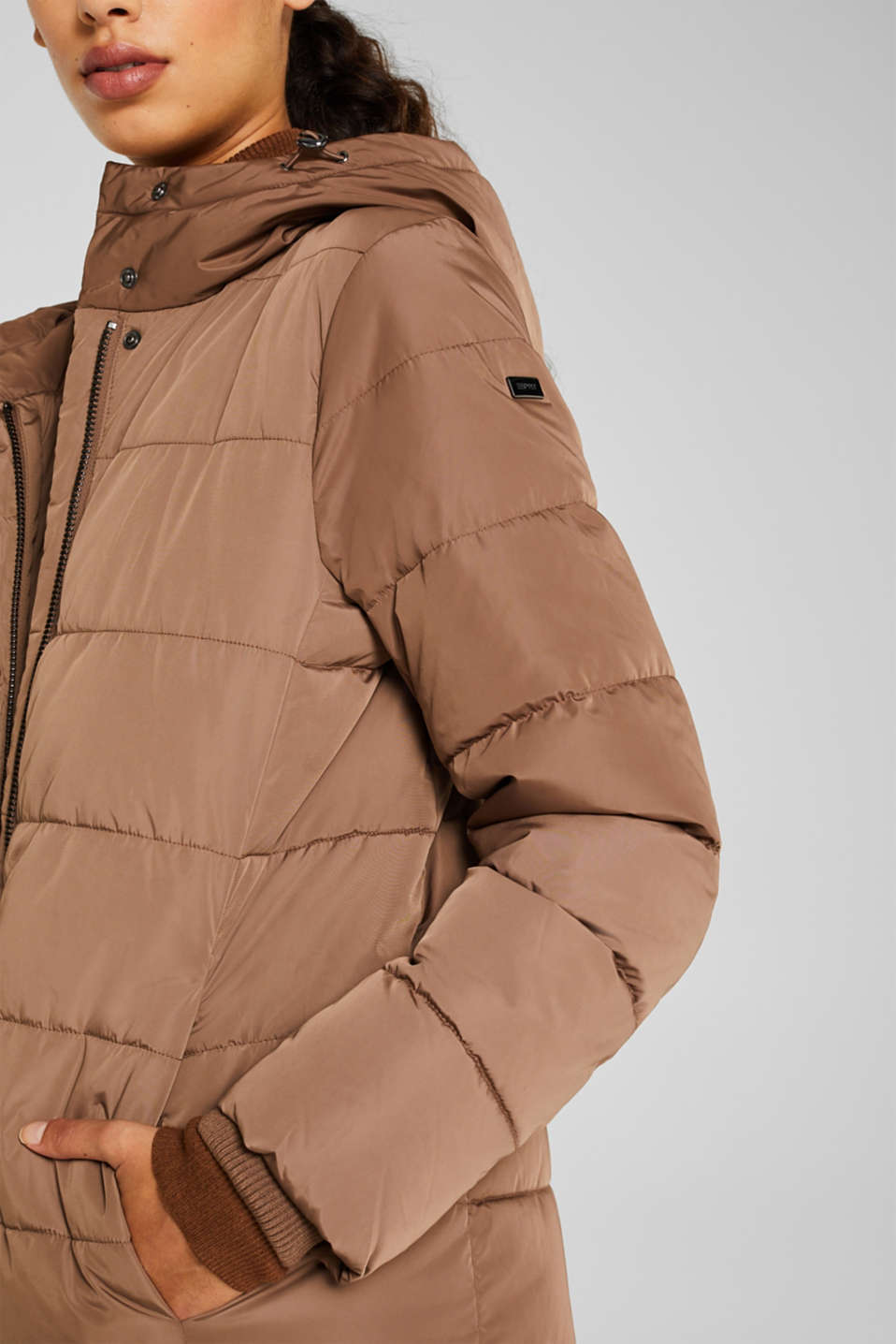 Quilted coat with hood, BROWN, detail image number 2