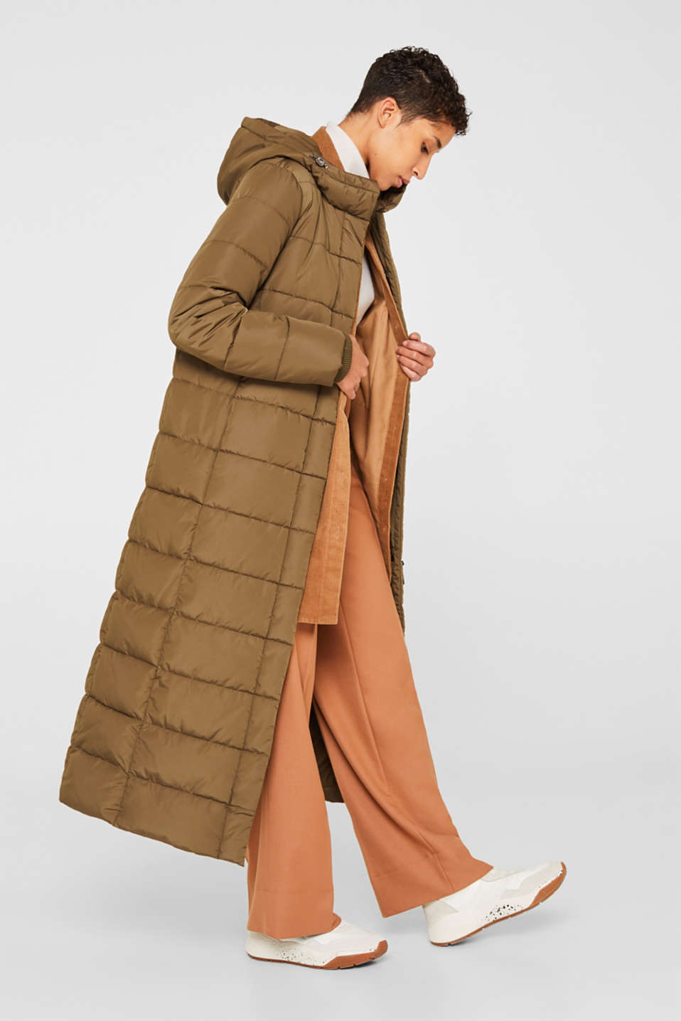 Quilted coat with hood, KHAKI GREEN, detail image number 0