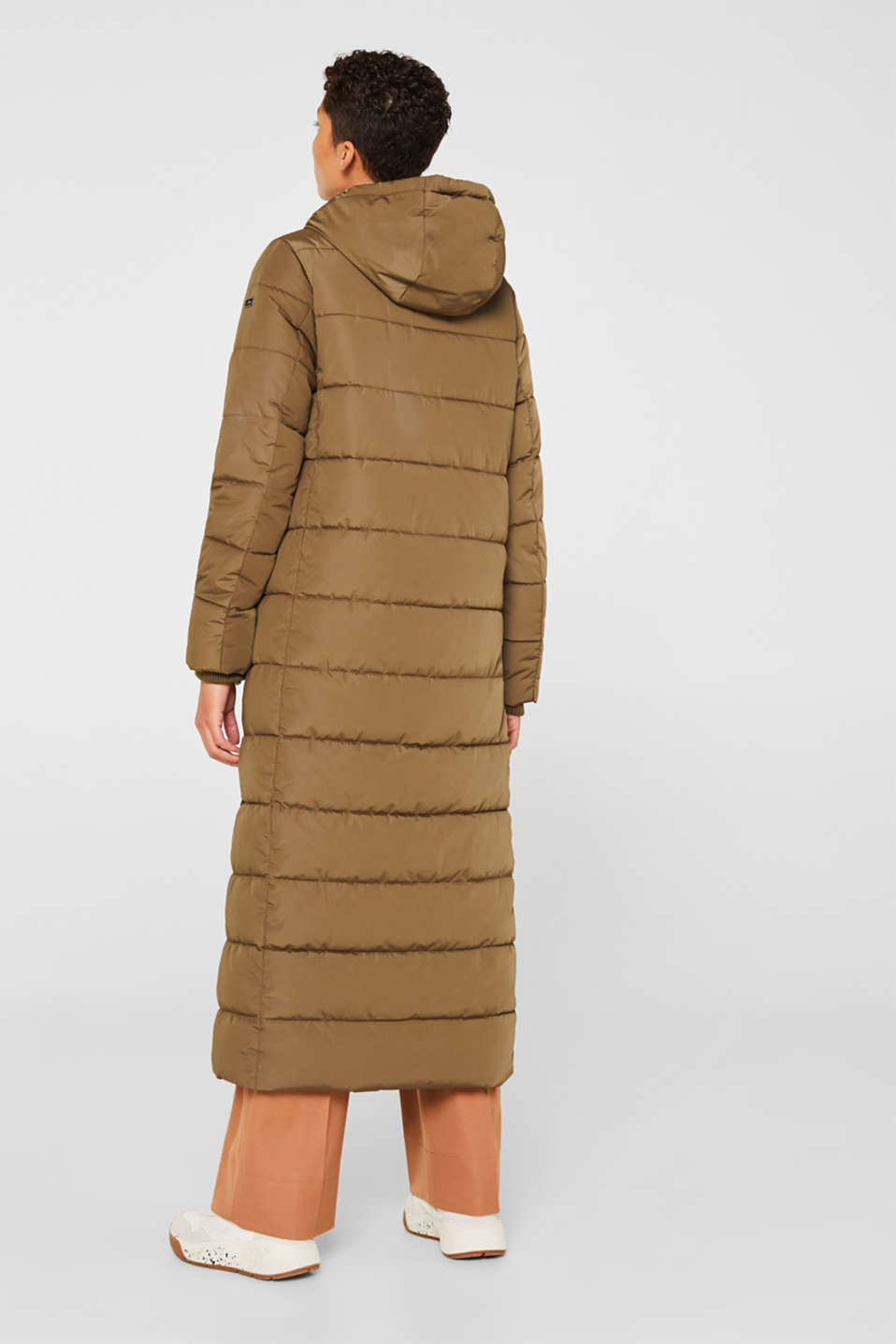 Quilted coat with hood, KHAKI GREEN, detail image number 3