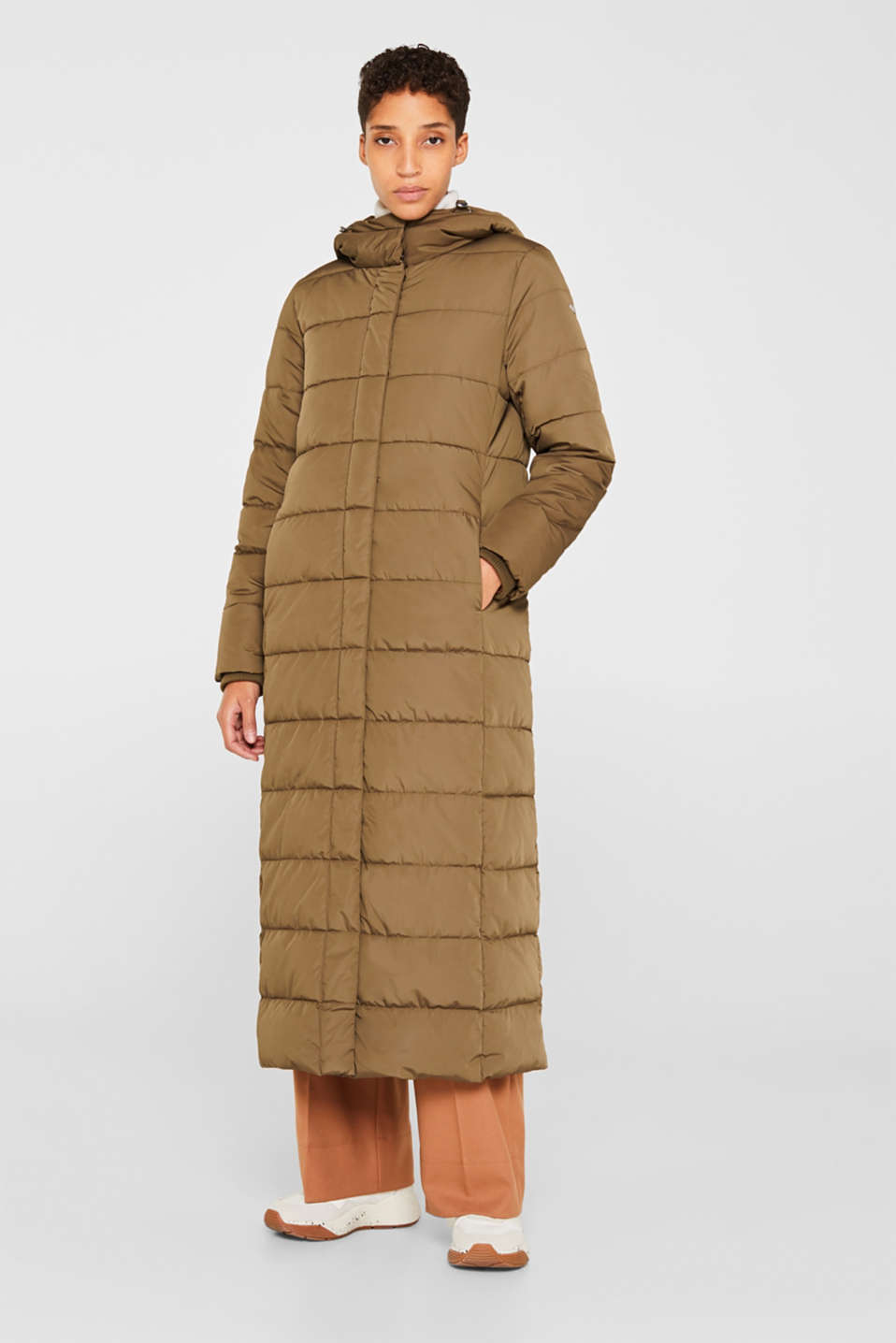 Quilted coat with hood, KHAKI GREEN, detail image number 1