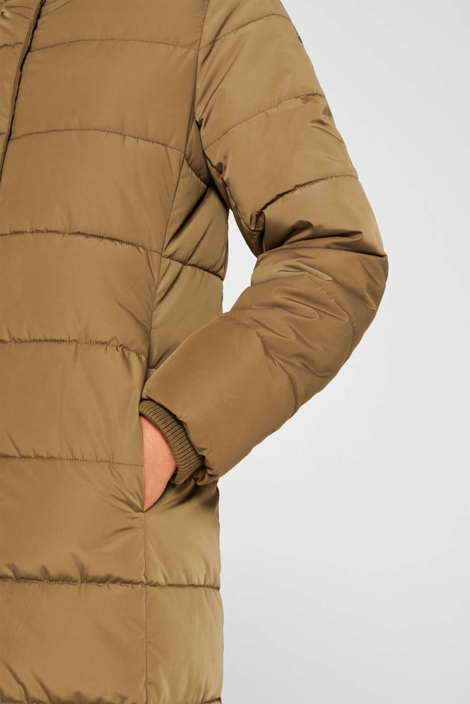 Quilted coat with hood, KHAKI GREEN, detail image number 2