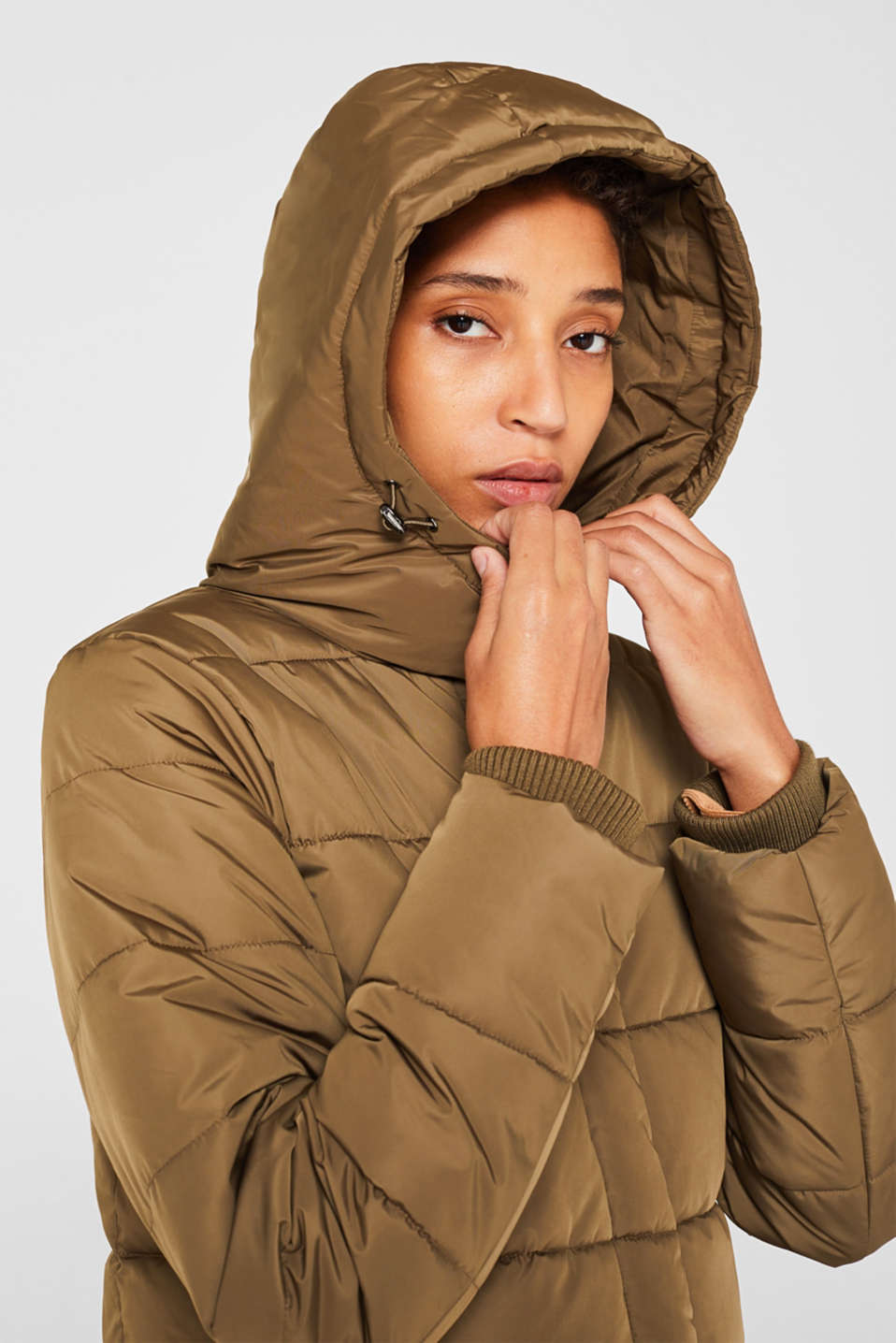 Quilted coat with hood, KHAKI GREEN, detail image number 5