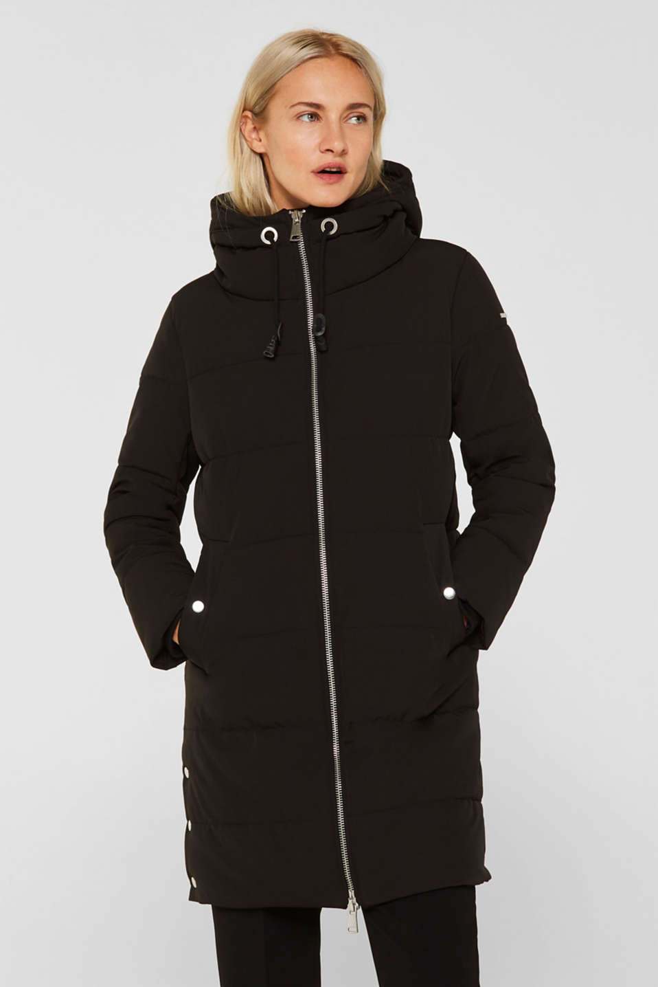 Quilted coat with hood, BLACK, detail image number 0