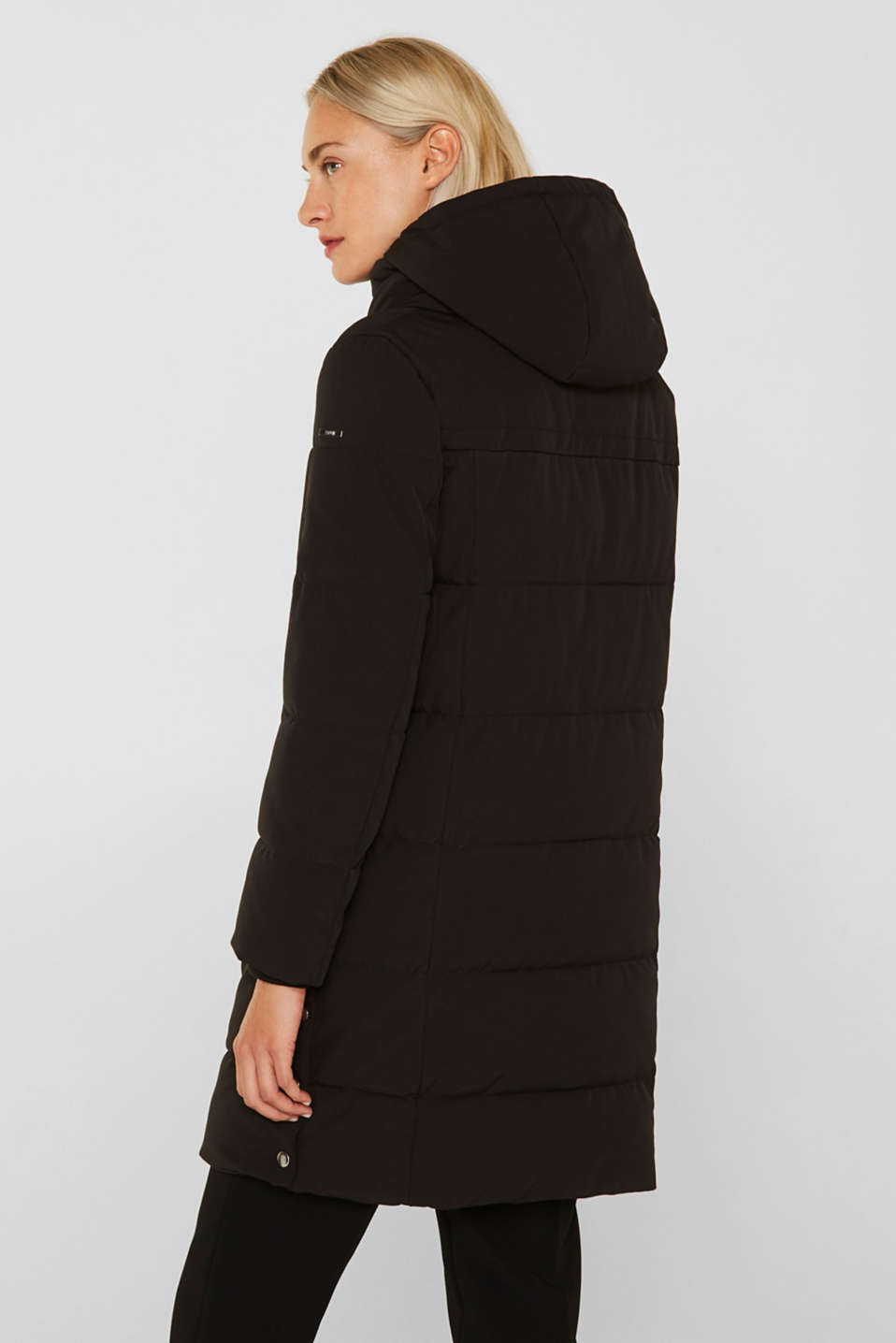 Quilted coat with hood, BLACK, detail image number 3