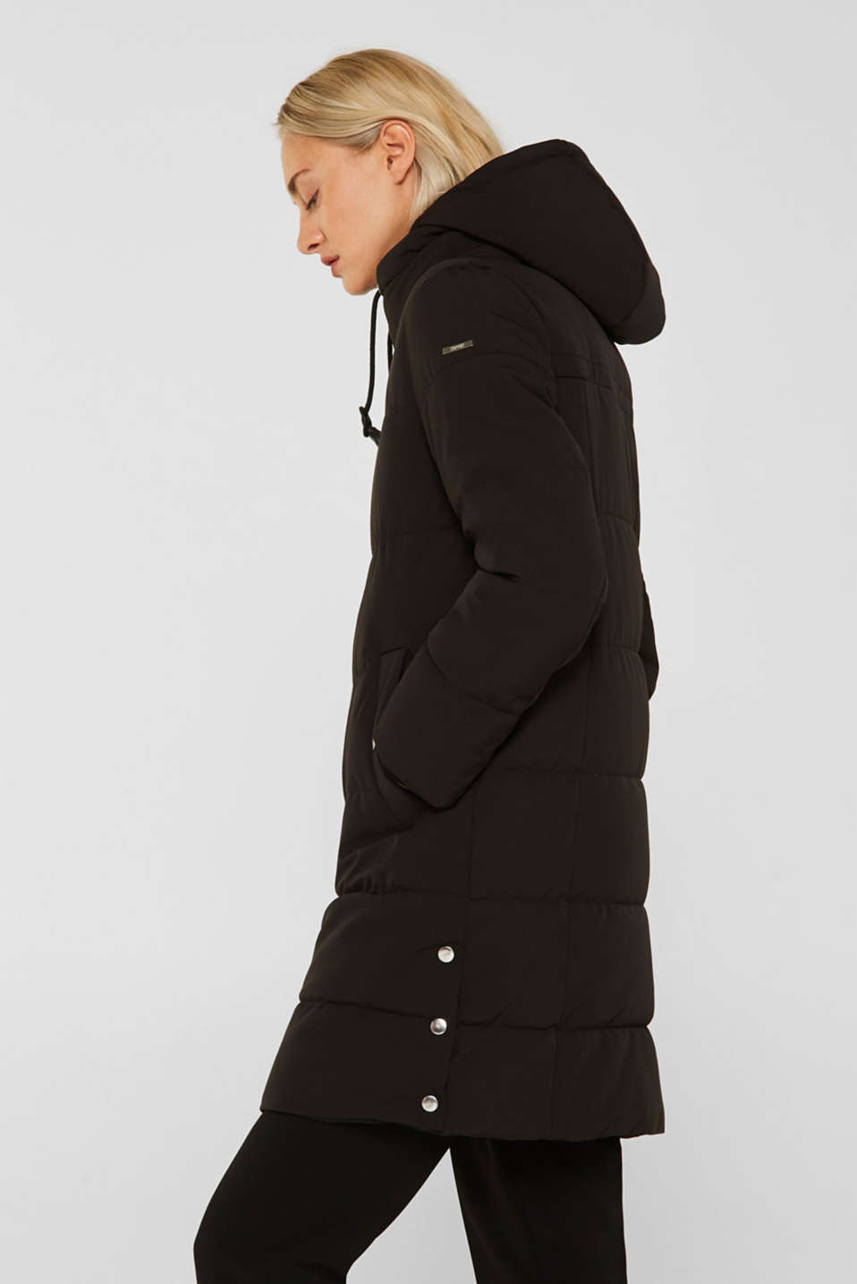 Quilted coat with hood, BLACK, detail image number 6