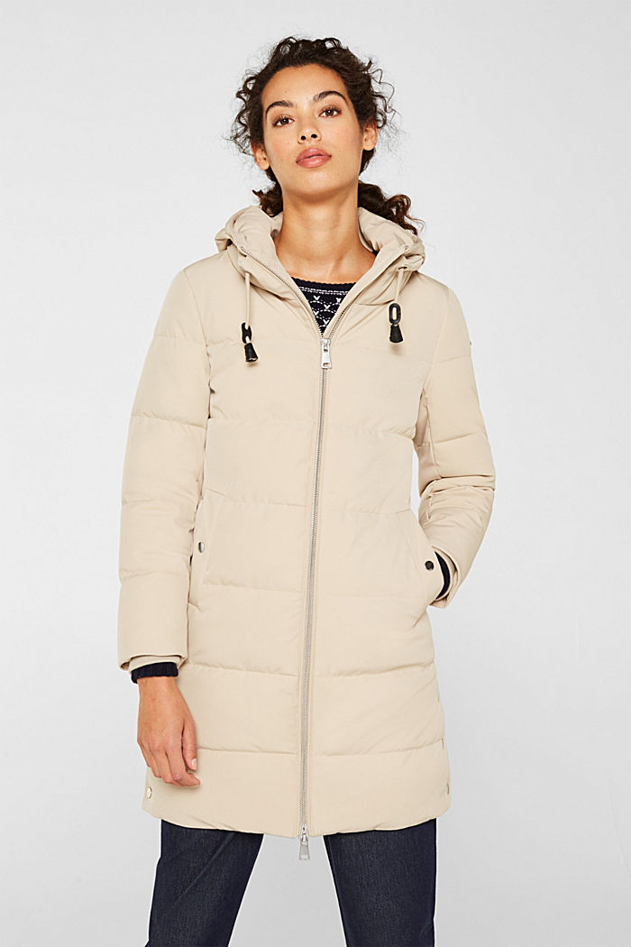 Quilted coat with hood, BEIGE, detail image number 0