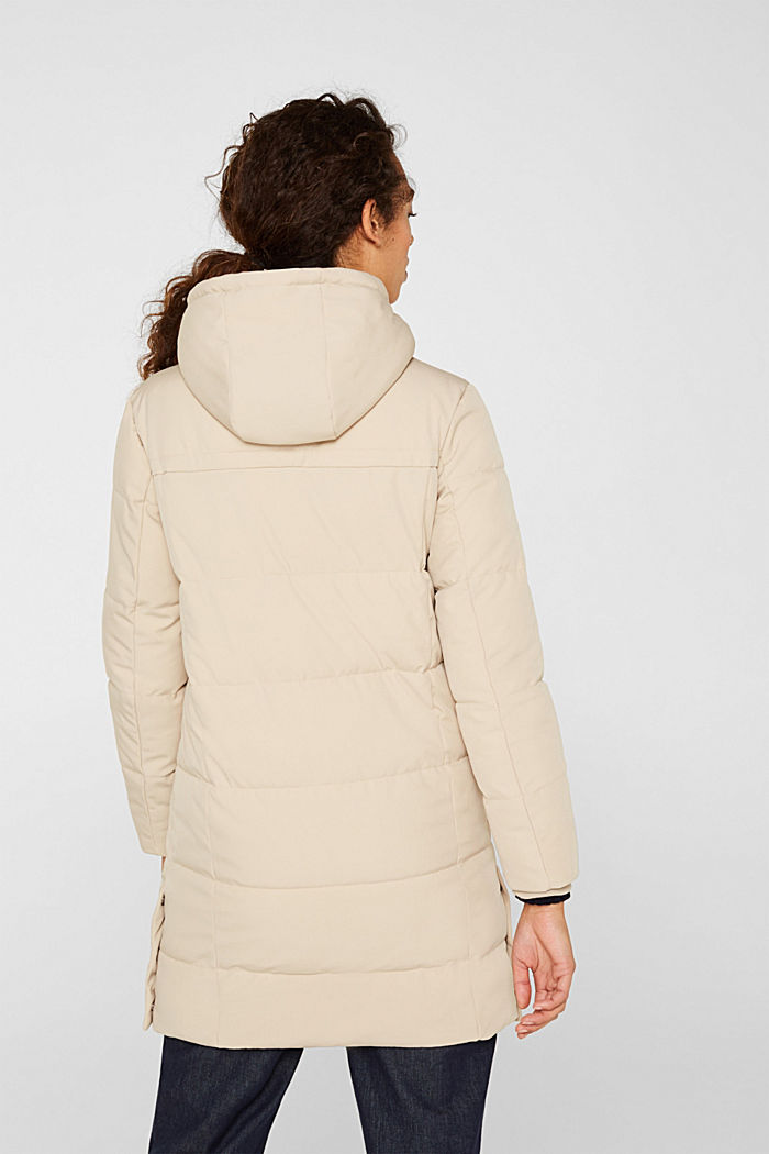 Quilted coat with hood, BEIGE, detail image number 3