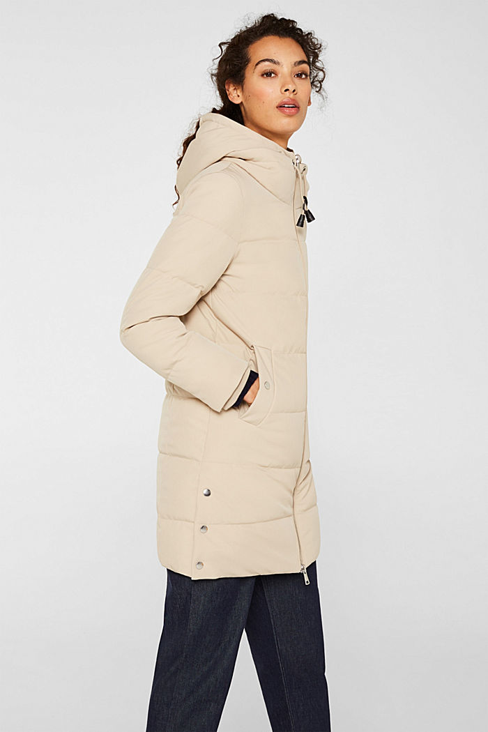 Quilted coat with hood, BEIGE, detail image number 6