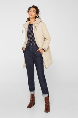 Quilted coat with hood, BEIGE, detail