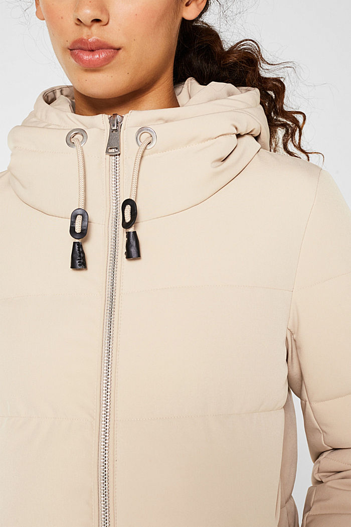 Quilted coat with hood, BEIGE, detail image number 2