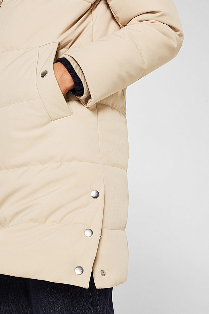 Quilted coat with hood, BEIGE, detail image number 5