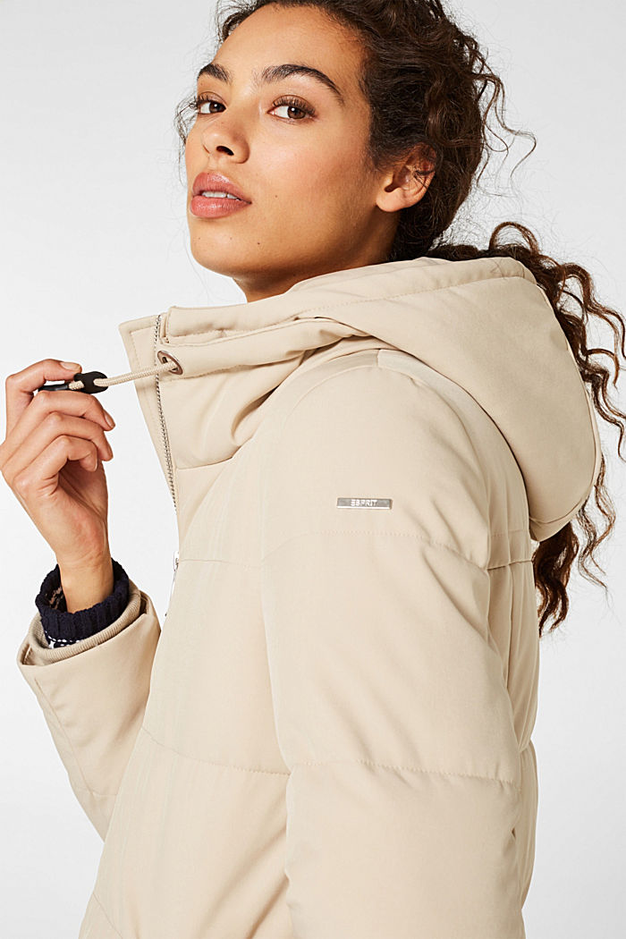 Quilted coat with hood, BEIGE, detail image number 7