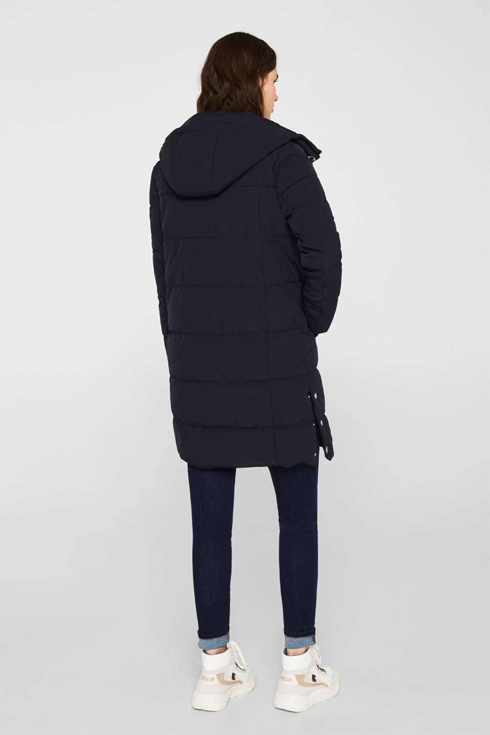 Quilted coat with hood, NAVY, detail image number 3