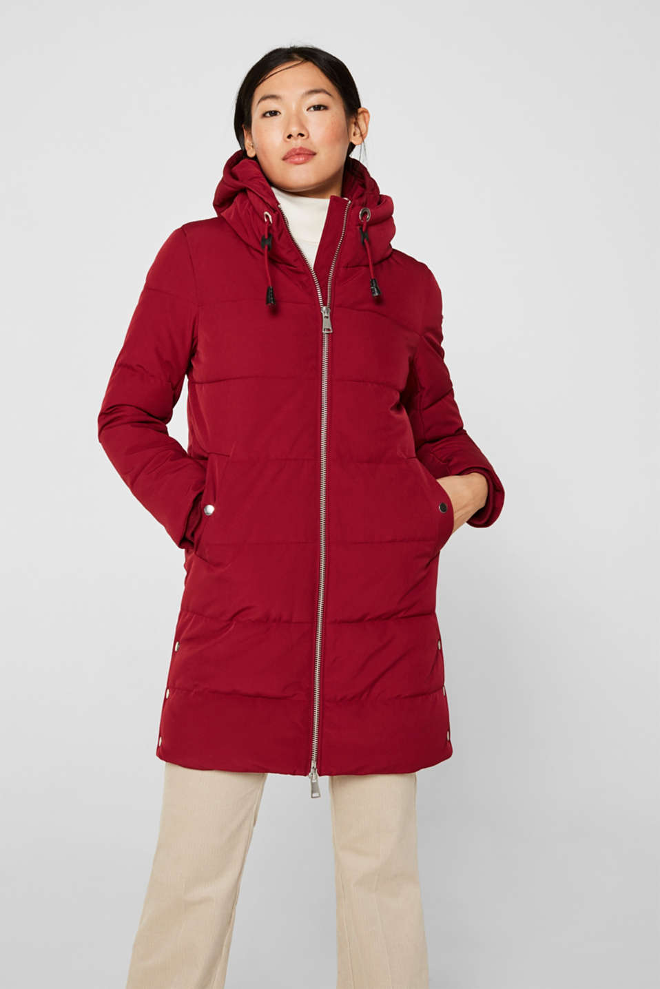 Quilted coat with hood, DARK RED, detail image number 0