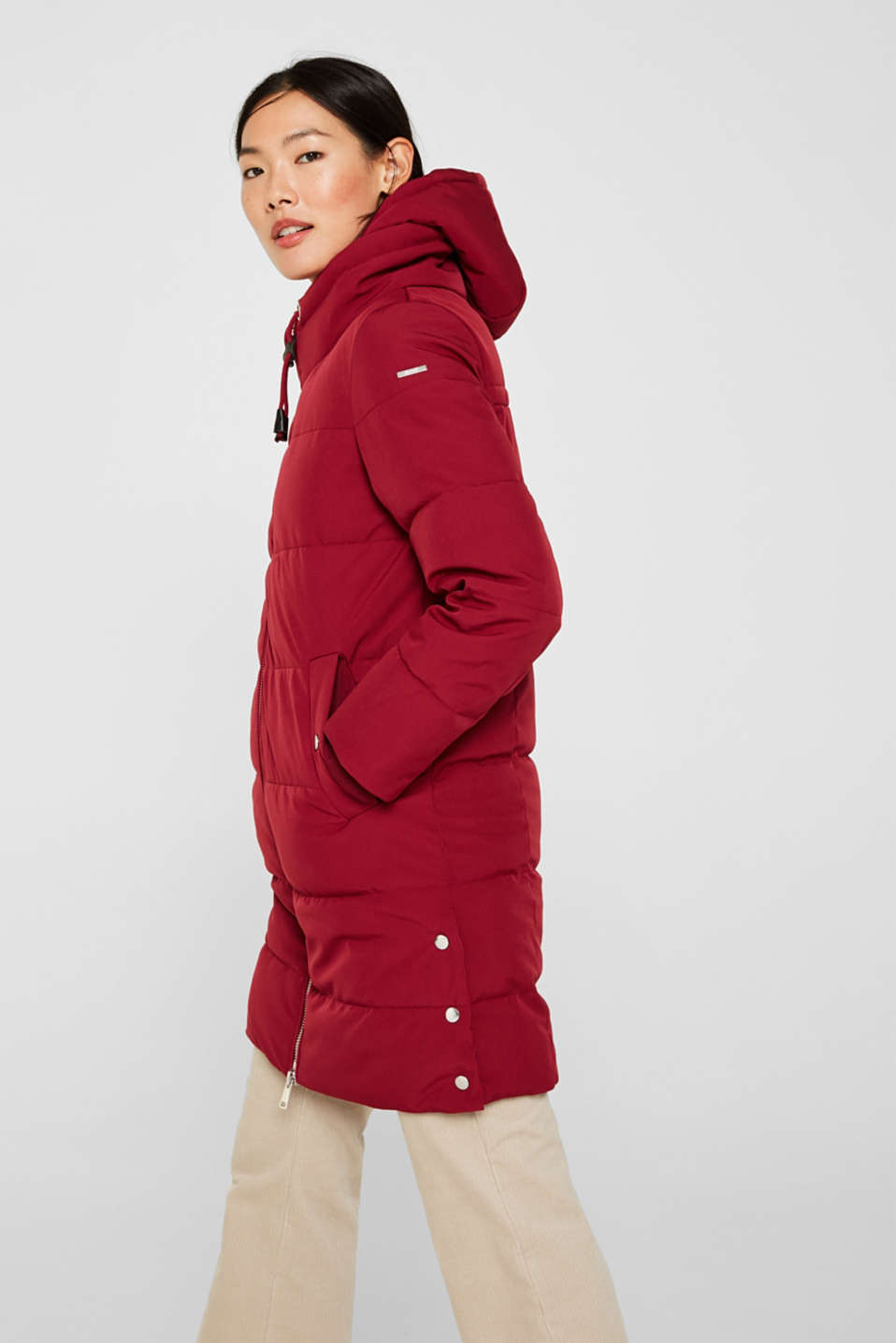 Quilted coat with hood, DARK RED, detail image number 6