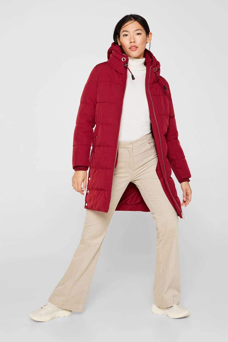 Quilted coat with hood, DARK RED, detail image number 1
