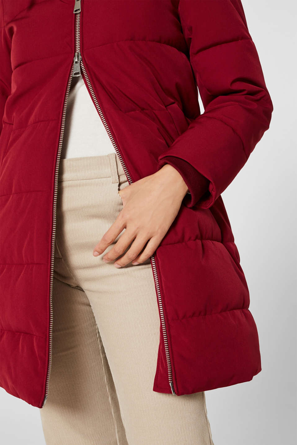 Quilted coat with hood, DARK RED, detail image number 2