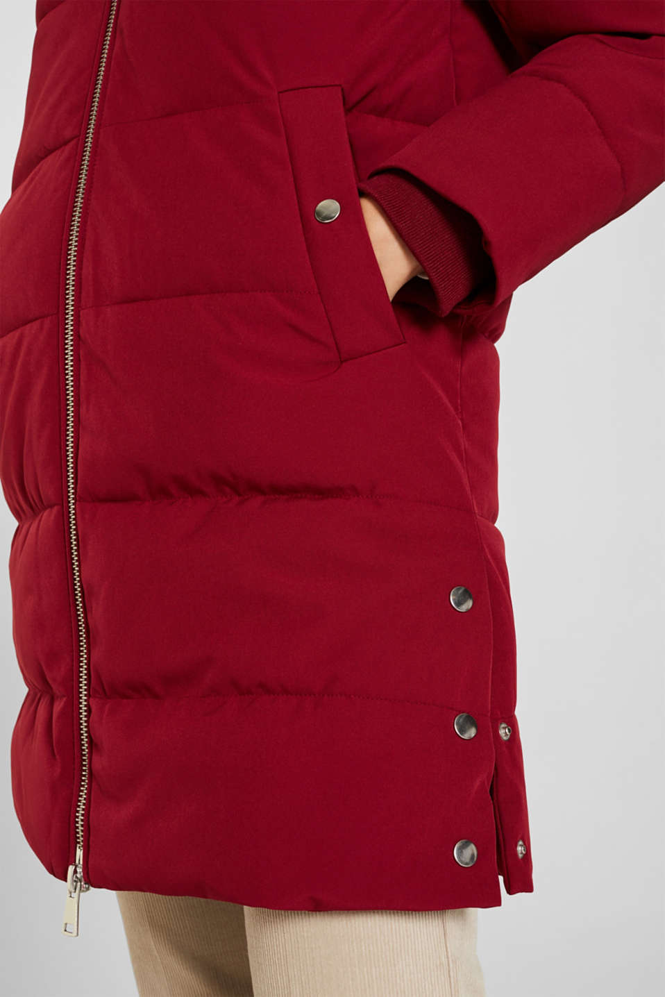 Quilted coat with hood, DARK RED, detail image number 5