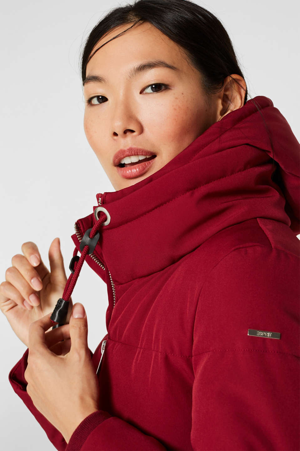 Quilted coat with hood, DARK RED, detail image number 7