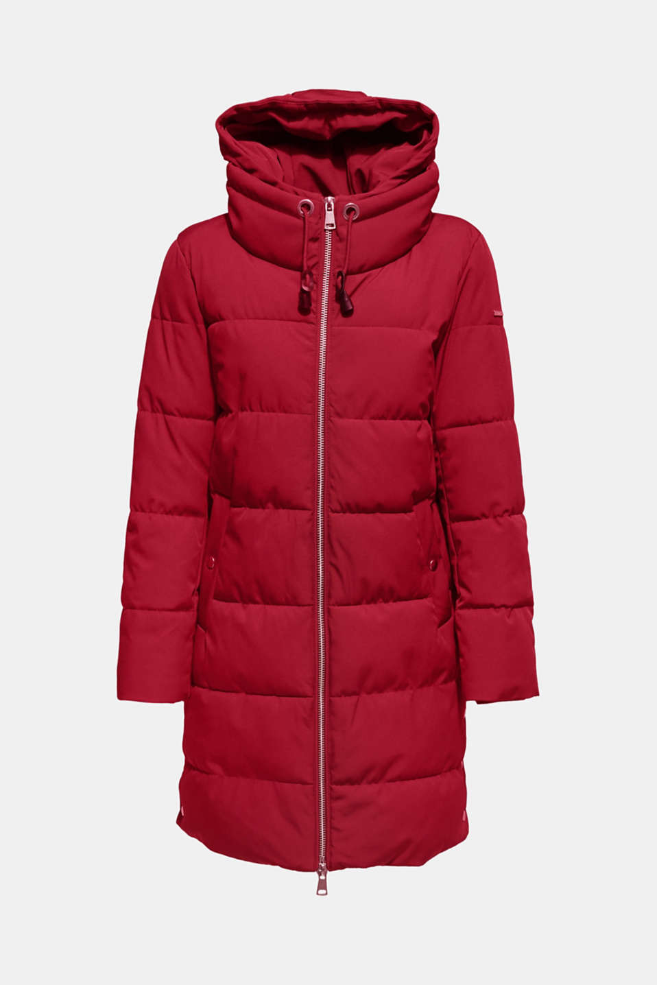 Quilted coat with hood, DARK RED, detail image number 8