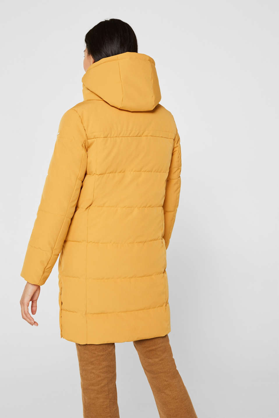 Quilted coat with hood, AMBER YELLOW, detail image number 3