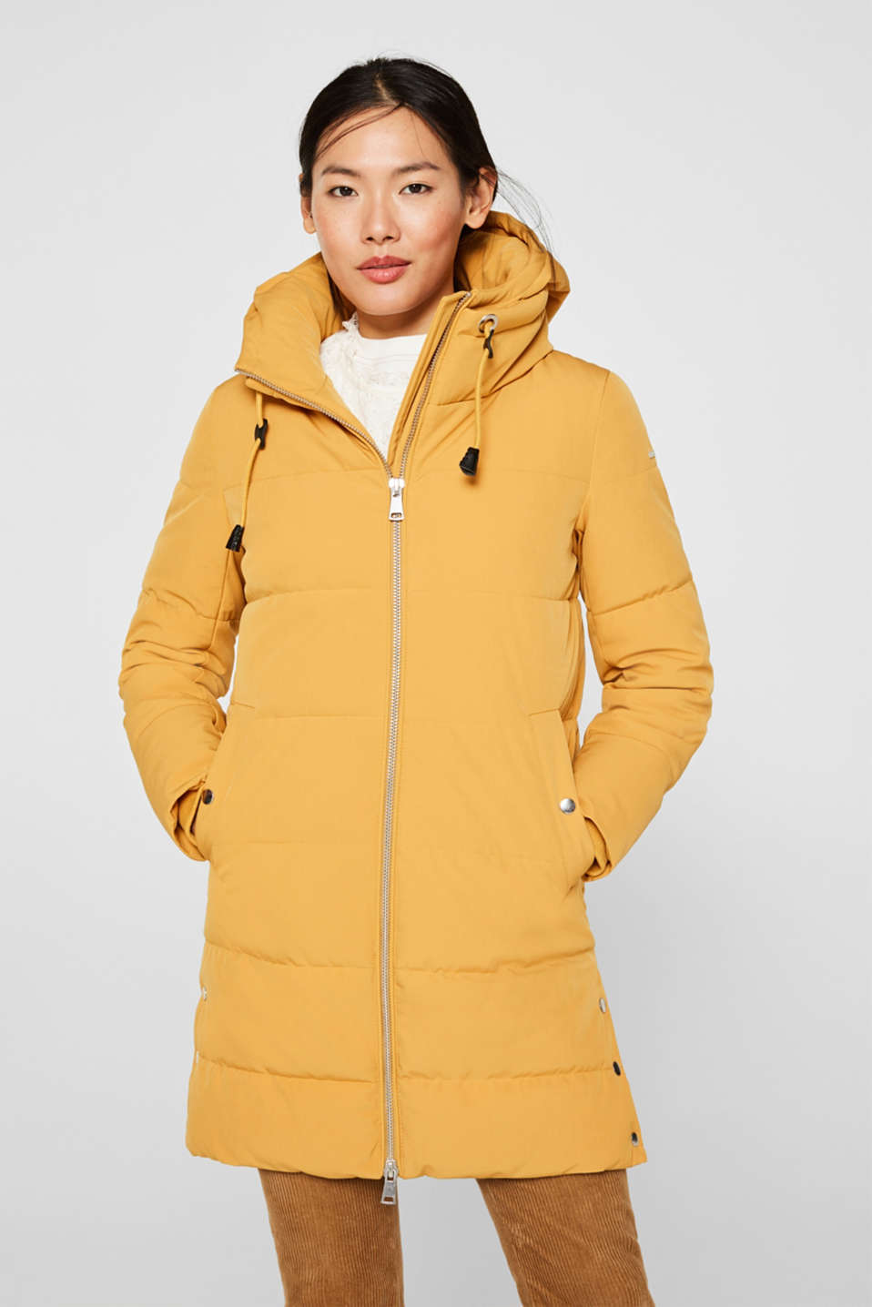 Quilted coat with hood, AMBER YELLOW, detail image number 6