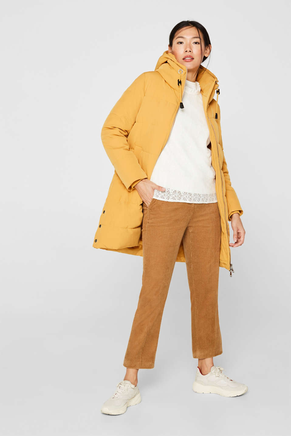 Quilted coat with hood, AMBER YELLOW, detail image number 1